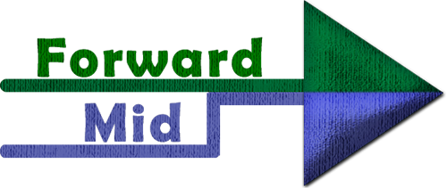 Logo of Forward MID a right pointing arrow top green bottom blue with the text Forward MID